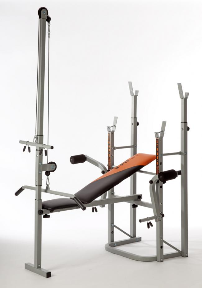 HERCULEAN STB09-4 FOLDING WEIGHT BENCH WITH LEG UNIT, FLY, SQUAT STANDS, LAT TOWER & PREACHER CURL BE009